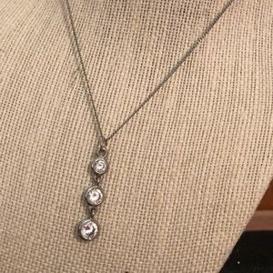Silver 3 Stoned Pendant Necklace